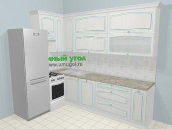 Угловая кухня МДФ патина в стиле прованс 7,2 м², 170 на 270 см, Лиственница белая, верхние модули 92 см, посудомоечная машина, холодильник, отдельно стоящая плита