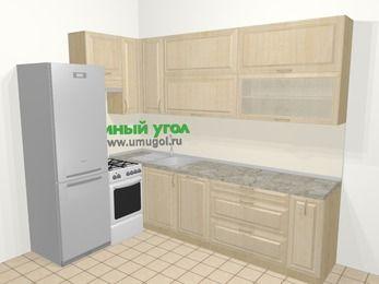 Угловая кухня из массива дерева в классическом стиле 7,2 м², 170 на 270 см, Светло-коричневые оттенки, верхние модули 92 см, посудомоечная машина, холодильник, отдельно стоящая плита