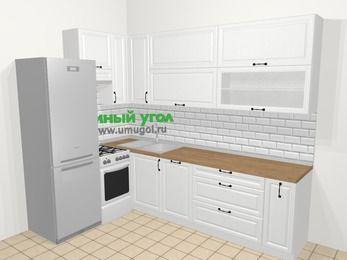 Угловая кухня из массива дерева в скандинавском стиле 7,2 м², 170 на 270 см, Белые оттенки, верхние модули 92 см, посудомоечная машина, холодильник, отдельно стоящая плита