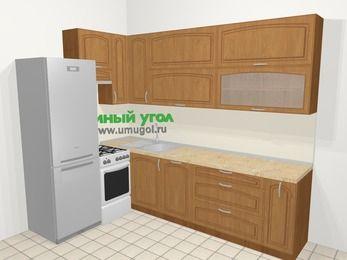 Угловая кухня МДФ патина в классическом стиле 7,2 м², 170 на 270 см, Ольха, верхние модули 92 см, посудомоечная машина, холодильник, отдельно стоящая плита