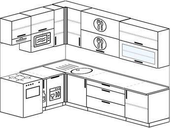 Угловая кухня 7,2 м² (1,7✕2,7 м), верхние модули 92 см, посудомоечная машина, верхний модуль под свч, отдельно стоящая плита