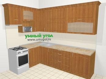 Угловая кухня МДФ матовый в классическом стиле 7,2 м², 170 на 270 см, Вишня, верхние модули 92 см, посудомоечная машина, верхний модуль под свч, отдельно стоящая плита