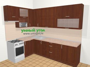 Угловая кухня МДФ матовый в классическом стиле 7,2 м², 170 на 270 см, Вишня темная, верхние модули 92 см, посудомоечная машина, верхний модуль под свч, отдельно стоящая плита