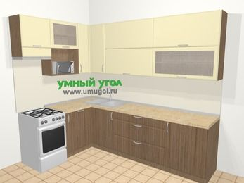 Угловая кухня МДФ матовый в современном стиле 7,2 м², 170 на 270 см, Ваниль / Лиственница бронзовая, верхние модули 92 см, посудомоечная машина, верхний модуль под свч, отдельно стоящая плита