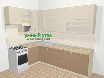 Угловая кухня МДФ матовый в современном стиле 7,2 м², 170 на 270 см, Керамик / Кофе, верхние модули 92 см, посудомоечная машина, верхний модуль под свч, отдельно стоящая плита