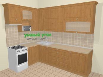 Угловая кухня МДФ матовый в стиле кантри 7,2 м², 170 на 270 см, Ольха, верхние модули 92 см, посудомоечная машина, верхний модуль под свч, отдельно стоящая плита