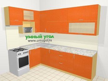 Угловая кухня МДФ металлик в современном стиле 7,2 м², 170 на 270 см, Оранжевый металлик, верхние модули 92 см, посудомоечная машина, верхний модуль под свч, отдельно стоящая плита