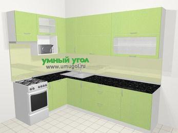 Угловая кухня МДФ металлик в современном стиле 7,2 м², 170 на 270 см, Салатовый металлик, верхние модули 92 см, посудомоечная машина, верхний модуль под свч, отдельно стоящая плита