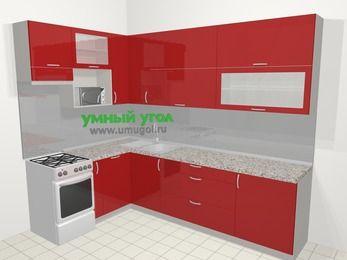 Угловая кухня МДФ глянец в современном стиле 7,2 м², 170 на 270 см, Красный, верхние модули 92 см, посудомоечная машина, верхний модуль под свч, отдельно стоящая плита