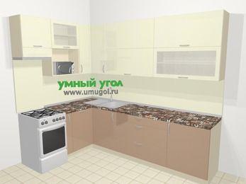 Угловая кухня МДФ глянец в современном стиле 7,2 м², 170 на 270 см, Жасмин / Капучино, верхние модули 92 см, посудомоечная машина, верхний модуль под свч, отдельно стоящая плита