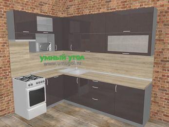 Угловая кухня МДФ глянец в стиле лофт 7,2 м², 170 на 270 см, Шоколад, верхние модули 92 см, посудомоечная машина, верхний модуль под свч, отдельно стоящая плита