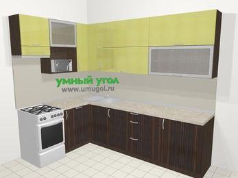 Кухни пластиковые угловые в современном стиле 7,2 м², 170 на 270 см, Желтый Галлион глянец / Дерево Мокка, верхние модули 92 см, посудомоечная машина, верхний модуль под свч, отдельно стоящая плита