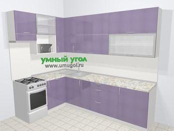 Кухни пластиковые угловые в современном стиле 7,2 м², 170 на 270 см, Сиреневый глянец, верхние модули 92 см, посудомоечная машина, верхний модуль под свч, отдельно стоящая плита