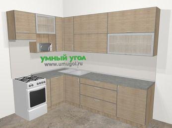Кухни пластиковые угловые в стиле лофт 7,2 м², 170 на 270 см, Чибли бежевый, верхние модули 92 см, посудомоечная машина, верхний модуль под свч, отдельно стоящая плита
