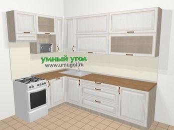 Угловая кухня МДФ патина в классическом стиле 7,2 м², 170 на 270 см, Лиственница белая, верхние модули 92 см, посудомоечная машина, верхний модуль под свч, отдельно стоящая плита
