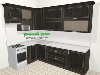 Угловая кухня МДФ патина в классическом стиле 7,2 м², 170 на 270 см, Венге, верхние модули 92 см, посудомоечная машина, верхний модуль под свч, отдельно стоящая плита