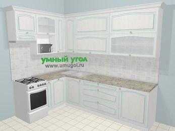 Угловая кухня МДФ патина в стиле прованс 7,2 м², 170 на 270 см, Лиственница белая, верхние модули 92 см, посудомоечная машина, верхний модуль под свч, отдельно стоящая плита