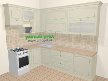 Угловая кухня МДФ патина в стиле прованс 7,2 м², 170 на 270 см, Керамик, верхние модули 92 см, посудомоечная машина, верхний модуль под свч, отдельно стоящая плита