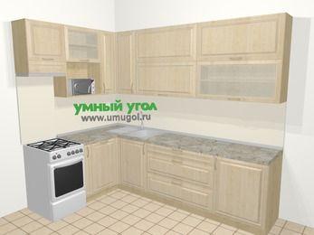 Угловая кухня из массива дерева в классическом стиле 7,2 м², 170 на 270 см, Светло-коричневые оттенки, верхние модули 92 см, посудомоечная машина, верхний модуль под свч, отдельно стоящая плита