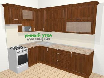 Угловая кухня из массива дерева в классическом стиле 7,2 м², 170 на 270 см, Темно-коричневые оттенки, верхние модули 92 см, посудомоечная машина, верхний модуль под свч, отдельно стоящая плита
