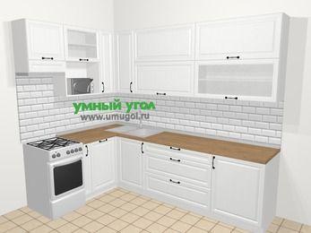 Угловая кухня из массива дерева в скандинавском стиле 7,2 м², 170 на 270 см, Белые оттенки, верхние модули 92 см, посудомоечная машина, верхний модуль под свч, отдельно стоящая плита