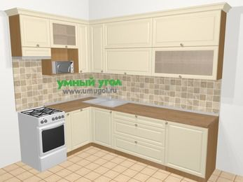 Угловая кухня из массива дерева в стиле кантри 7,2 м², 170 на 270 см, Бежевые оттенки, верхние модули 92 см, посудомоечная машина, верхний модуль под свч, отдельно стоящая плита