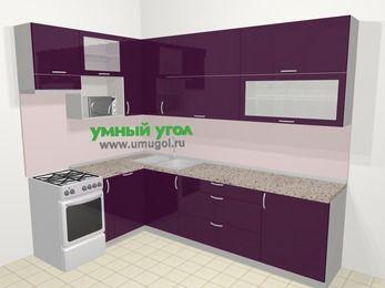 Угловая кухня МДФ глянец в современном стиле 7,2 м², 170 на 270 см, Баклажан, верхние модули 92 см, посудомоечная машина, верхний модуль под свч, отдельно стоящая плита