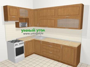 Угловая кухня МДФ патина в классическом стиле 7,2 м², 170 на 270 см, Ольха, верхние модули 92 см, посудомоечная машина, верхний модуль под свч, отдельно стоящая плита