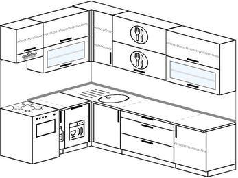 Угловая кухня 7,2 м² (1,7✕2,7 м), верхние модули 92 см, посудомоечная машина, отдельно стоящая плита
