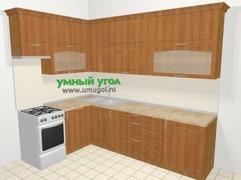 Угловая кухня МДФ матовый в классическом стиле 7,2 м², 170 на 270 см, Вишня, верхние модули 92 см, посудомоечная машина, отдельно стоящая плита