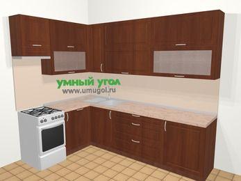 Угловая кухня МДФ матовый в классическом стиле 7,2 м², 170 на 270 см, Вишня темная, верхние модули 92 см, посудомоечная машина, отдельно стоящая плита