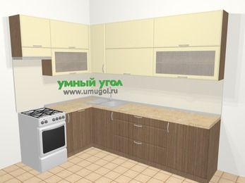 Угловая кухня МДФ матовый в современном стиле 7,2 м², 170 на 270 см, Ваниль / Лиственница бронзовая, верхние модули 92 см, посудомоечная машина, отдельно стоящая плита