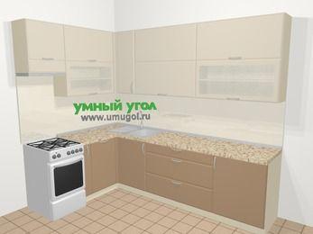 Угловая кухня МДФ матовый в современном стиле 7,2 м², 170 на 270 см, Керамик / Кофе, верхние модули 92 см, посудомоечная машина, отдельно стоящая плита
