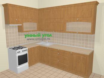 Угловая кухня МДФ матовый в стиле кантри 7,2 м², 170 на 270 см, Ольха, верхние модули 92 см, посудомоечная машина, отдельно стоящая плита