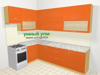 Угловая кухня МДФ металлик в современном стиле 7,2 м², 170 на 270 см, Оранжевый металлик, верхние модули 92 см, посудомоечная машина, отдельно стоящая плита