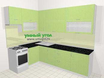 Угловая кухня МДФ металлик в современном стиле 7,2 м², 170 на 270 см, Салатовый металлик, верхние модули 92 см, посудомоечная машина, отдельно стоящая плита