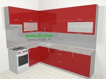 Угловая кухня МДФ глянец в современном стиле 7,2 м², 170 на 270 см, Красный, верхние модули 92 см, посудомоечная машина, отдельно стоящая плита