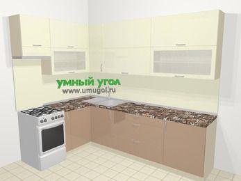Угловая кухня МДФ глянец в современном стиле 7,2 м², 170 на 270 см, Жасмин / Капучино, верхние модули 92 см, посудомоечная машина, отдельно стоящая плита