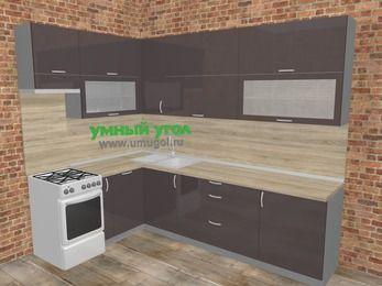 Угловая кухня МДФ глянец в стиле лофт 7,2 м², 170 на 270 см, Шоколад, верхние модули 92 см, посудомоечная машина, отдельно стоящая плита
