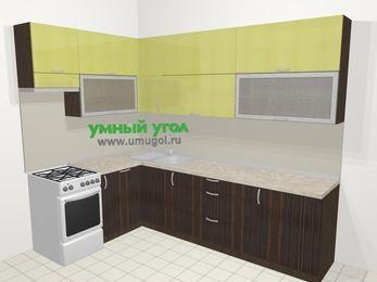 Кухни пластиковые угловые в современном стиле 7,2 м², 170 на 270 см, Желтый Галлион глянец / Дерево Мокка, верхние модули 92 см, посудомоечная машина, отдельно стоящая плита
