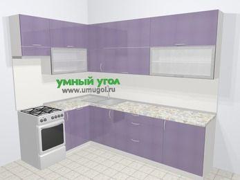 Кухни пластиковые угловые в современном стиле 7,2 м², 170 на 270 см, Сиреневый глянец, верхние модули 92 см, посудомоечная машина, отдельно стоящая плита