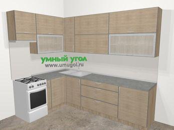 Кухни пластиковые угловые в стиле лофт 7,2 м², 170 на 270 см, Чибли бежевый, верхние модули 92 см, посудомоечная машина, отдельно стоящая плита