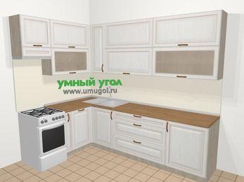 Угловая кухня МДФ патина в классическом стиле 7,2 м², 170 на 270 см, Лиственница белая, верхние модули 92 см, посудомоечная машина, отдельно стоящая плита