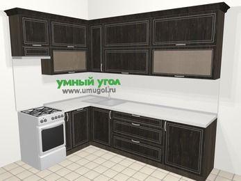 Угловая кухня МДФ патина в классическом стиле 7,2 м², 170 на 270 см, Венге, верхние модули 92 см, посудомоечная машина, отдельно стоящая плита
