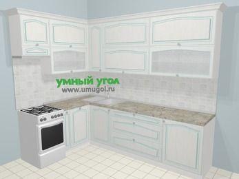 Угловая кухня МДФ патина в стиле прованс 7,2 м², 170 на 270 см, Лиственница белая, верхние модули 92 см, посудомоечная машина, отдельно стоящая плита