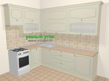 Угловая кухня МДФ патина в стиле прованс 7,2 м², 170 на 270 см, Керамик, верхние модули 92 см, посудомоечная машина, отдельно стоящая плита