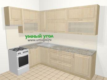 Угловая кухня из массива дерева в классическом стиле 7,2 м², 170 на 270 см, Светло-коричневые оттенки, верхние модули 92 см, посудомоечная машина, отдельно стоящая плита