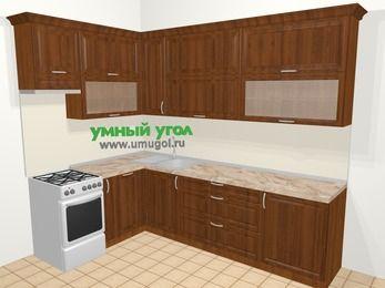 Угловая кухня из массива дерева в классическом стиле 7,2 м², 170 на 270 см, Темно-коричневые оттенки, верхние модули 92 см, посудомоечная машина, отдельно стоящая плита