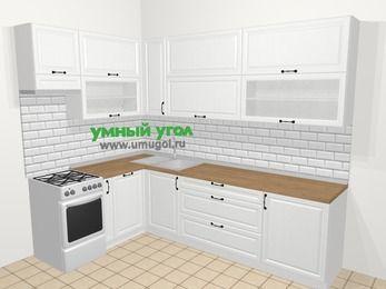Угловая кухня из массива дерева в скандинавском стиле 7,2 м², 170 на 270 см, Белые оттенки, верхние модули 92 см, посудомоечная машина, отдельно стоящая плита