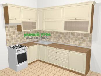 Угловая кухня из массива дерева в стиле кантри 7,2 м², 170 на 270 см, Бежевые оттенки, верхние модули 92 см, посудомоечная машина, отдельно стоящая плита